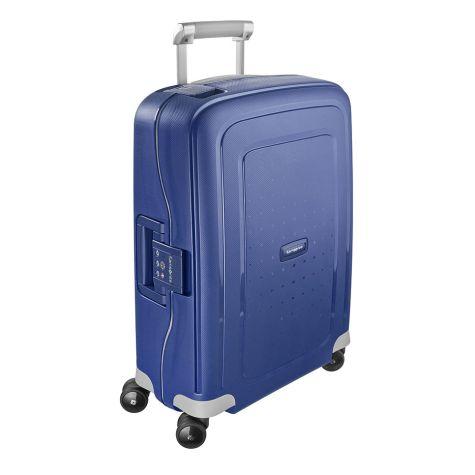 Samsonite S Cure Suitcase 4 Wheel Spinner 55cm 20inch Cabin Dark Blue
