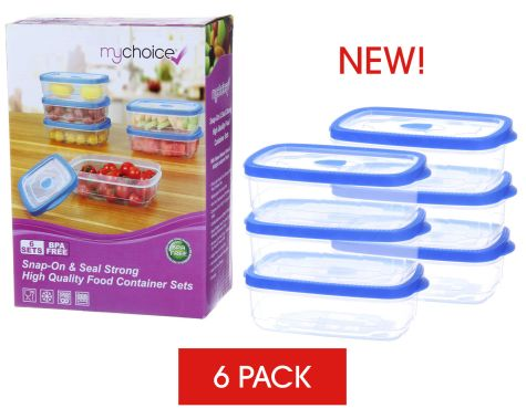 MyChoice Snap-On And Seal Strong High-Quality Food Storage And Meal Prep Containers - 6 Sets