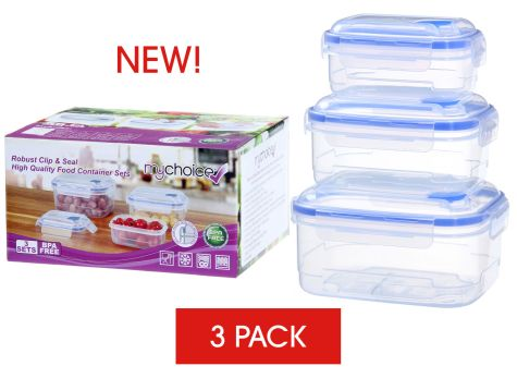 MyChoice Clip And Seal Strong High-Quality Food Storage And Meal Prep Containers - 3 Sets