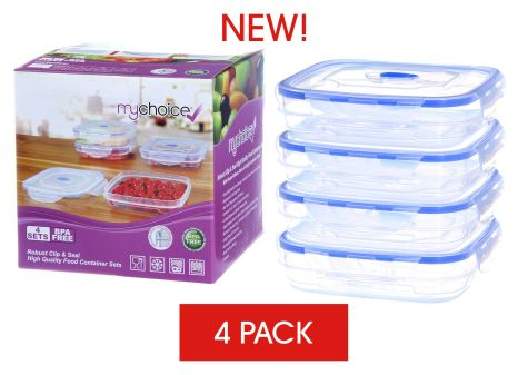 MyChoice Clip And Seal Strong High-Quality Food Storage And Meal Prep Containers - 4 Sets