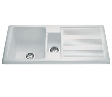 CDA KC24WH Ceramic Sink One and Half Bowl Traditional Style White