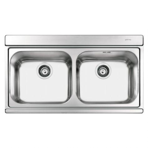 Smeg Iris LI92SG Inset Sink Double Bowl Silver Glass Chopping Boards