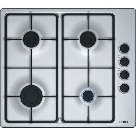 Bosch Serie 2 PBP6B5B60 Gas Hob 4 Cooking Zones 60cm Stainless Steel