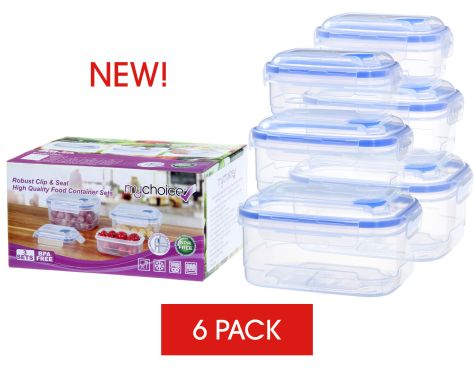 MyChoice Clip And Seal Strong High-Quality Food Storage And Meal Prep Containers - 6 Sets
