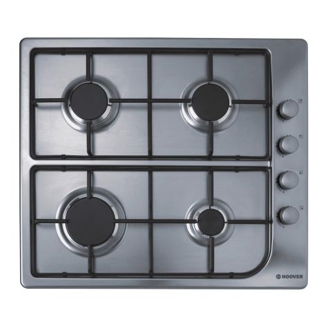 Hoover HGL64SX Gas Hob 4 Burner One Touch Ignition Stainless Steel
