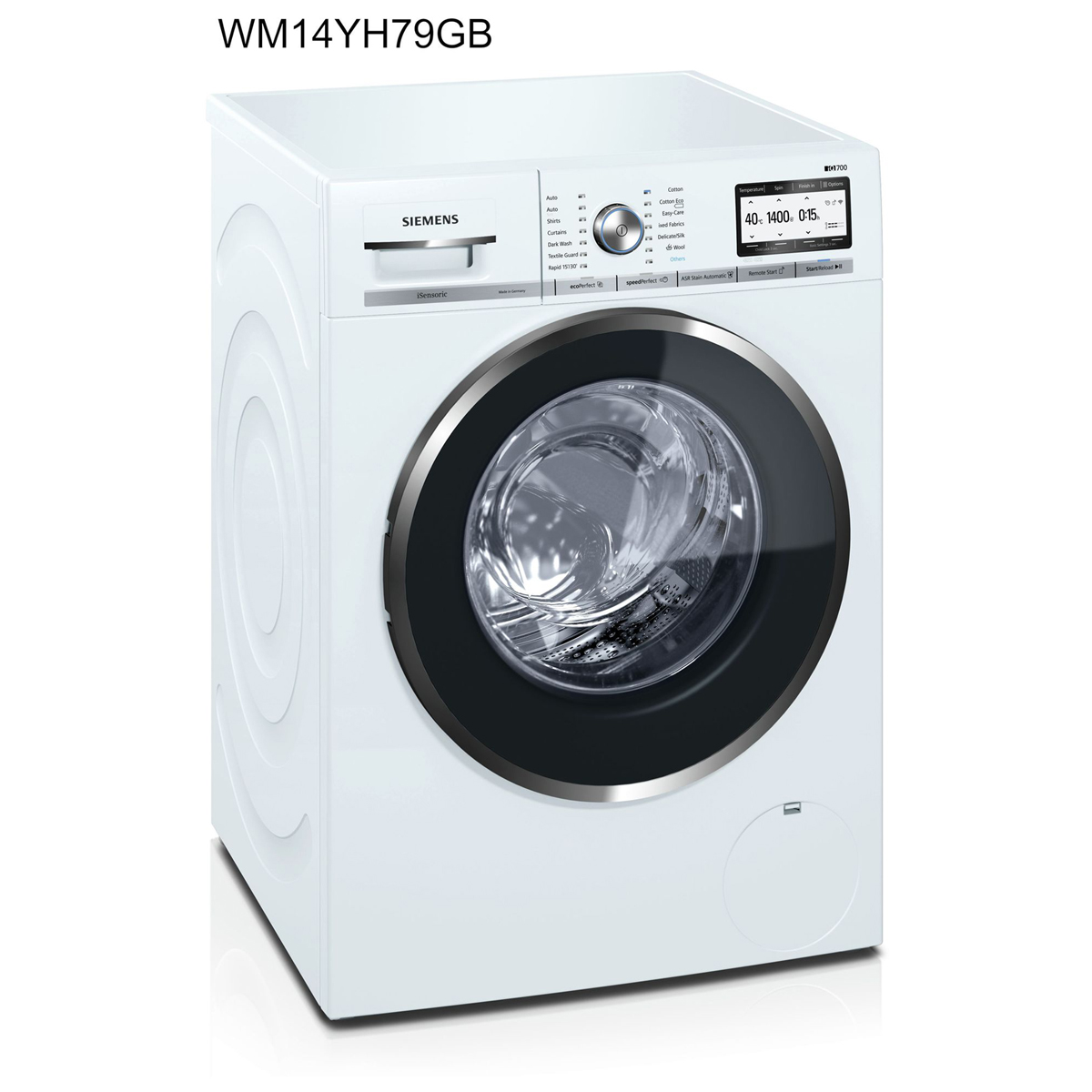 Siemens iQ700 WM14YH79GB Washing Machine Freestanding 9 kg A+++ White