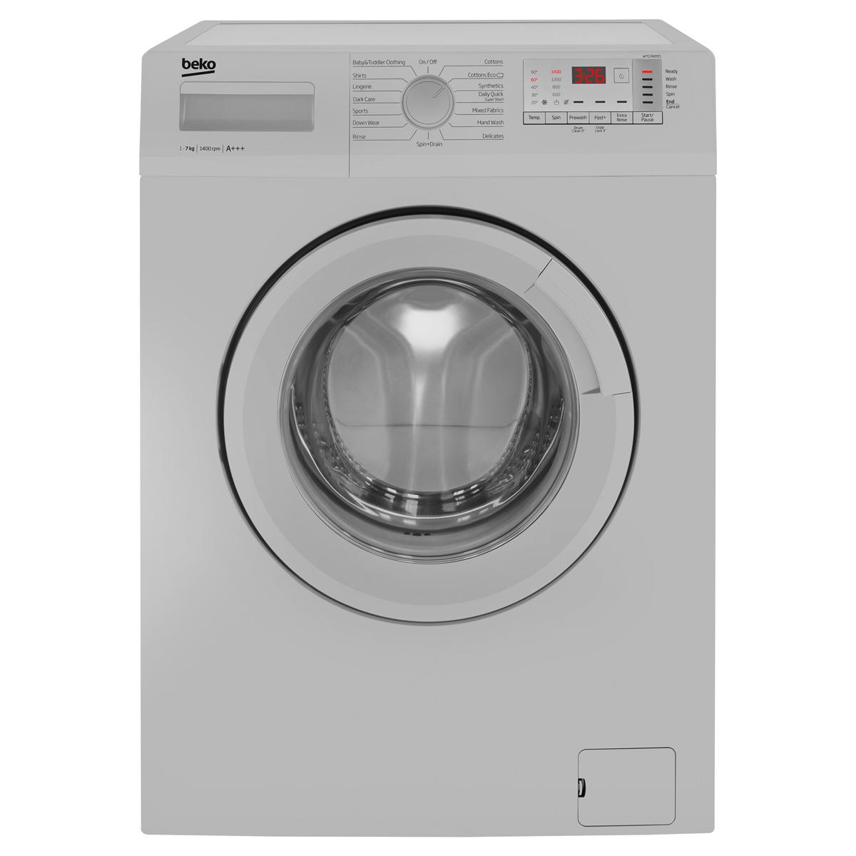 Beko WTG741M1S Washing Machine Freestanding 1400rpm 7kg A+++ Silver